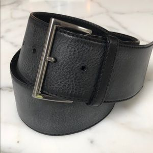 Prada Wide Black Leather Belt 75/30